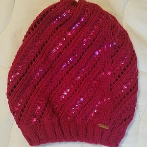 Free People crochet knit beret with embellishments